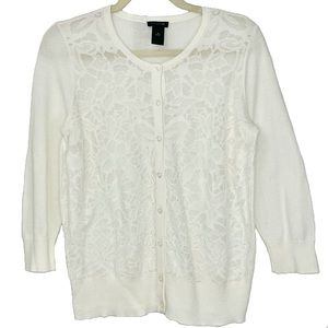 New Ann Taylor Lace Front Button Down Cardigan M